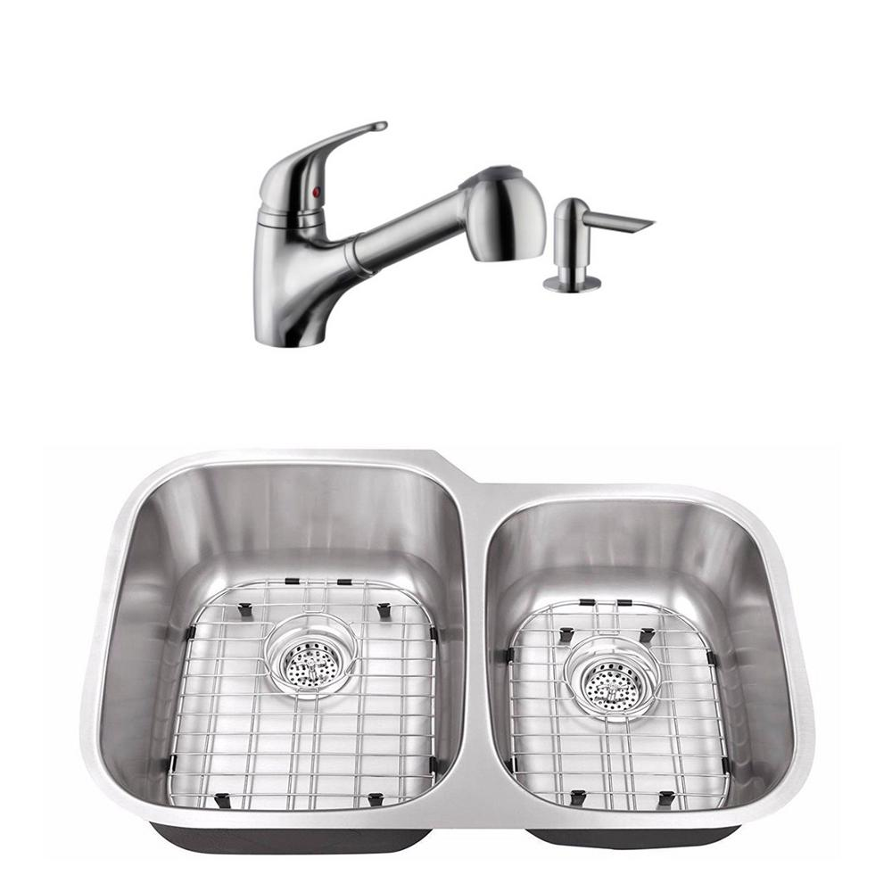 Cahaba Undermount Stainless Steel 32 in. 60/40 Double Bowl Kitchen Sink with Brushed Nickel Faucet