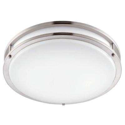 12 in. Brushed Nickel/White LED Ceiling Low-Profile Flushmount