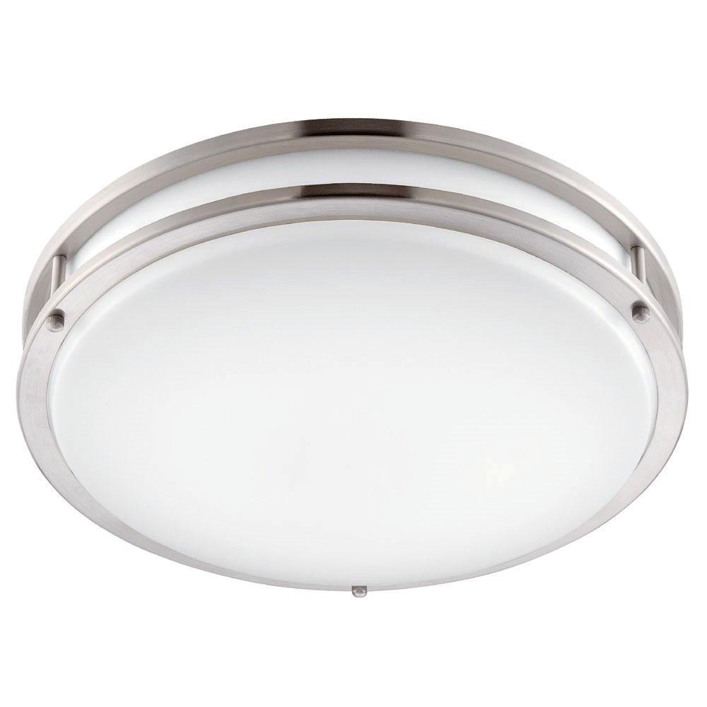 14 in. Brushed Nickel/White LED Ceiling Low-Profile Flushmount