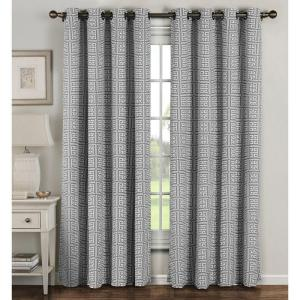 Semi-Opaque Greek Key Cotton Blend Extra Wide 84 in. L Grommet Curtain Panel Pair, Grey (Set of 2)