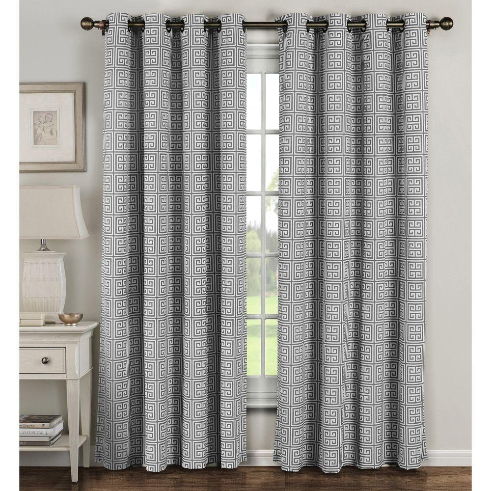 Window Elements Semi Opaque Greek Key Cotton Blend Extra Wide 84 In L Grommet Curtain Panel Pair Grey Set Of 2
