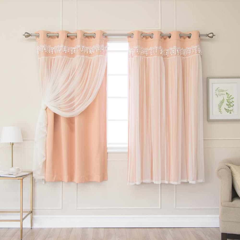 Best Home Fashion Indie Pink 63 in. L Elis Lace Overlay Blackout Curtain Panel (2-Pack)