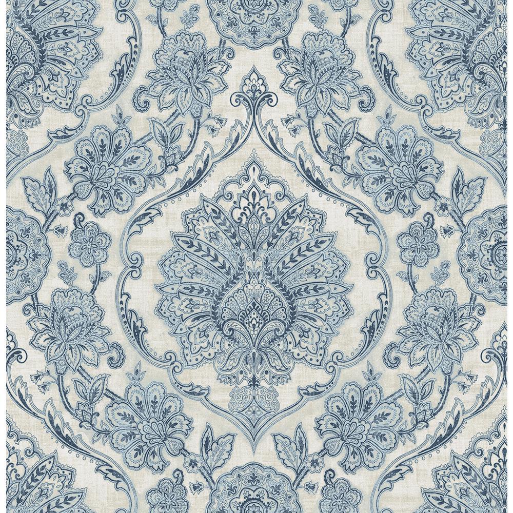56 4 Sq Ft Carnegie Blue Damask Wallpaper