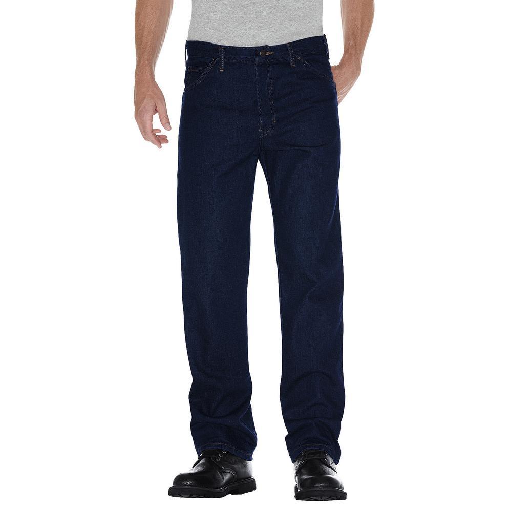 Men 46 in. x 34 in. Indigo Blue Regular Straight Fit 5-Pocket Denim Jean