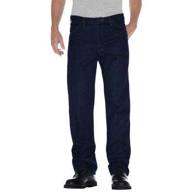 Men 54 in. x 32 in. Indigo Blue Regular Straight Fit 5-Pocket Denim Jean