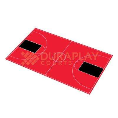 50 ft. 6 in. x 83 ft. 11 in. Red and Black Full Court Basketball Kit