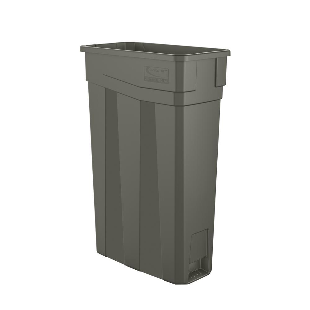 Slim 23 Gal. Gray Plastic Trash Can