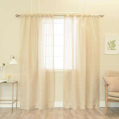 84 in. L Sheer Ivory Damask Venice Curtain (2-Pack)