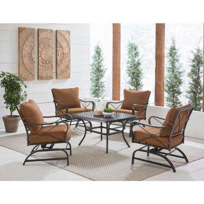 Summer Nights 5-Piece Steel Outdoor Conversation Set with Desert Sunset Cushions, 4 Cross-Back Rockers and Coffee Table