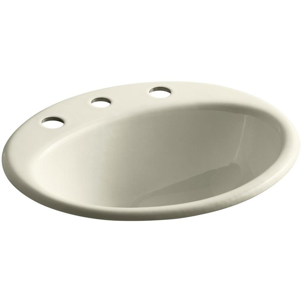 Farmington Drop-In Cast Iron Bathroom Sink in Cane Sugar with Overflow Drain