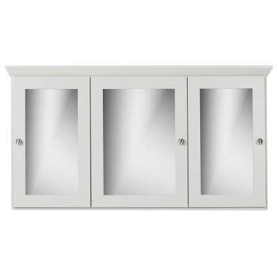 48 in. W x 27 in. H x 6.5 in. D Tri-View Surface-Mount Medicine Cabinet Square/Mirror in Dewy Morning