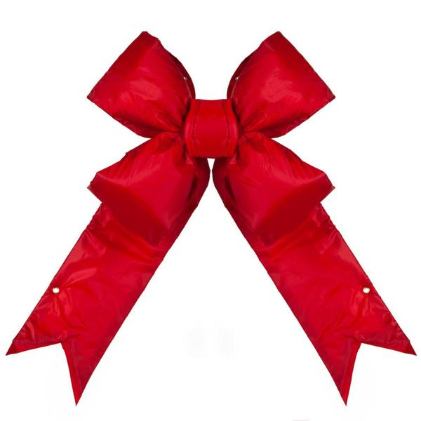 24 in. Red Nylon Outdoor Christmas Structural Bow