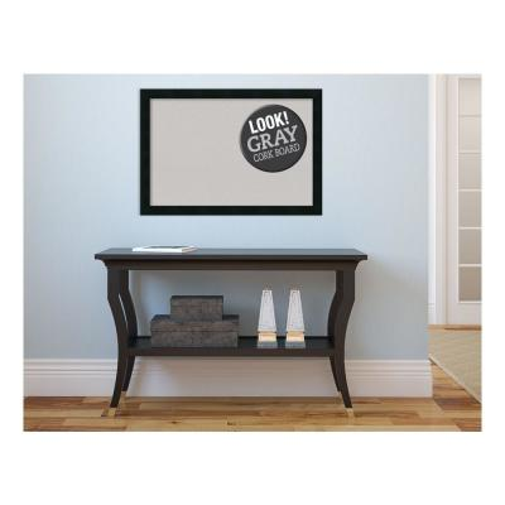 Mezzanotte Black Wood 26 in. x 18 in. Framed Grey Cork Board