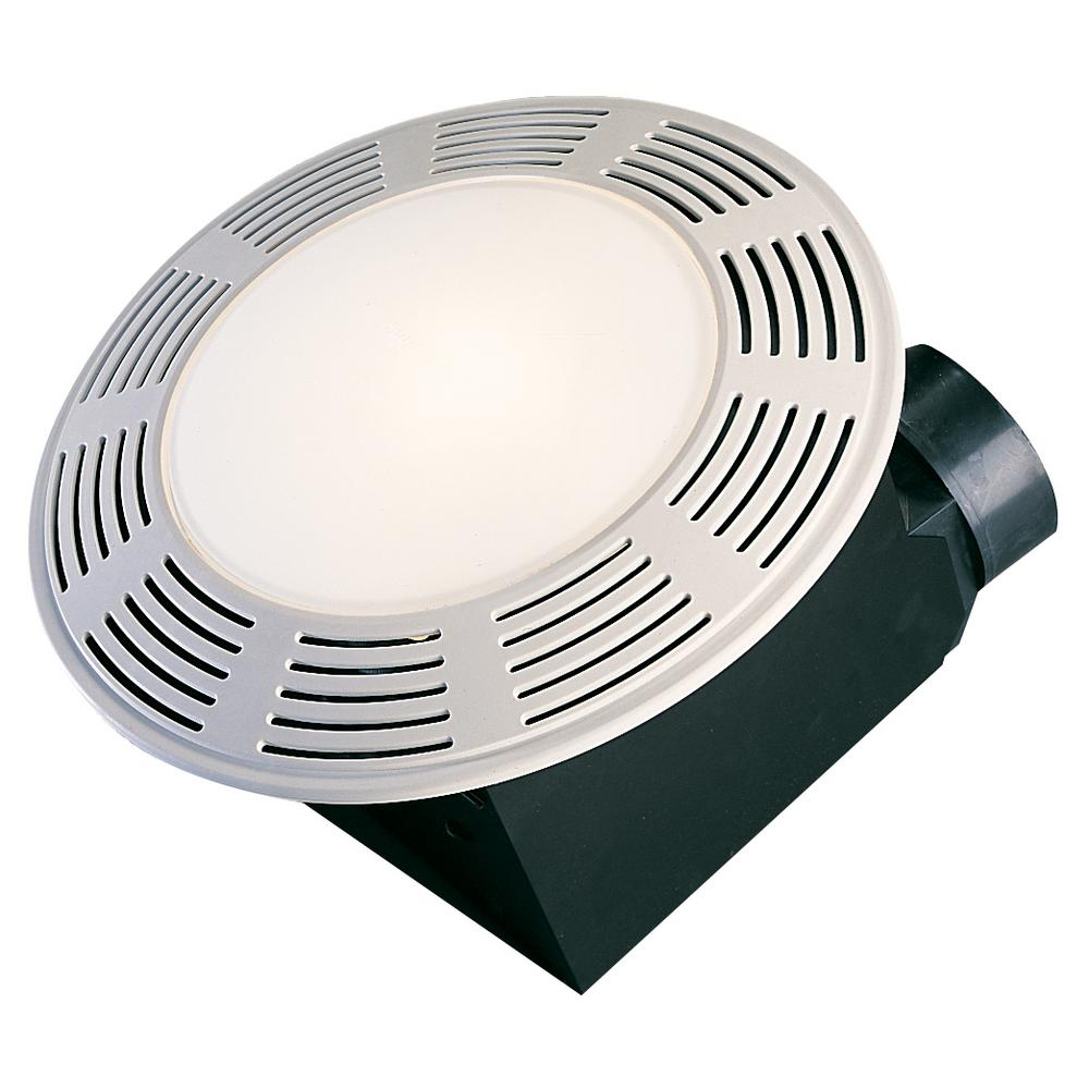 Round Bathroom Fan Light Combination: Decorative White 100 CFM Ceiling Exhaust Fan With Light