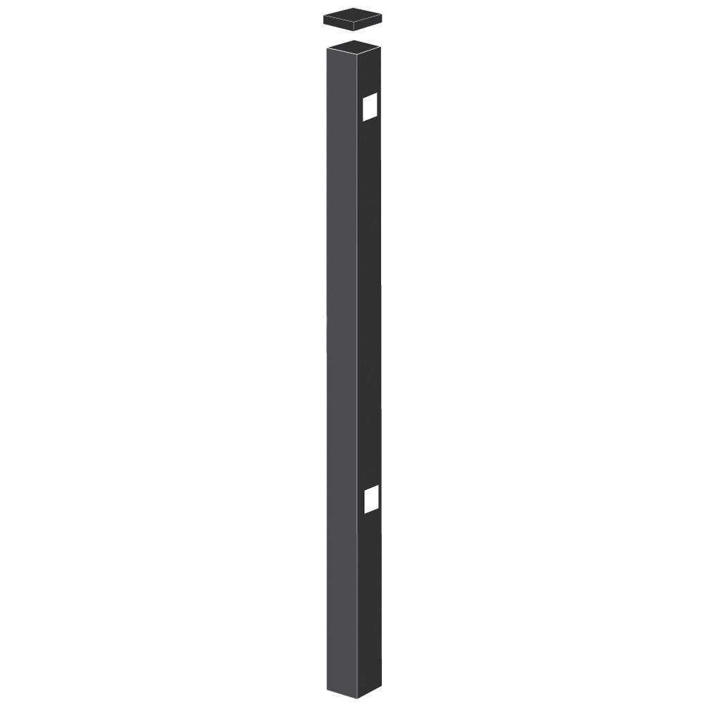 Barrette 2 in. x 2 in. x 70 in. Aluminum Black Fence End Post Black
