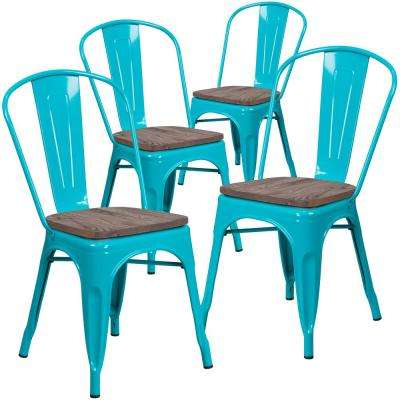 Crystal Teal-Blue Restaurant Chairs (Set of 4)