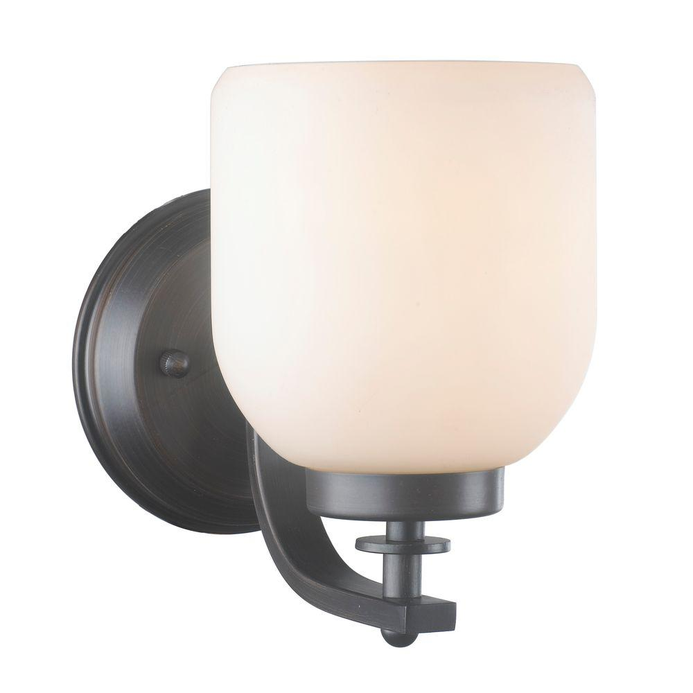 1-Light Oil-Rubbed Bronze Sconce with White Frosted Glass Shade