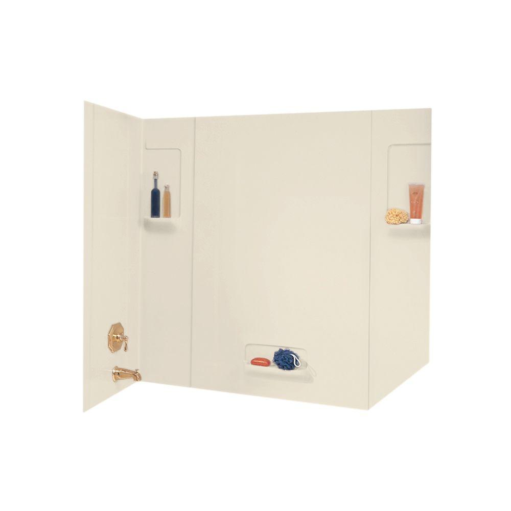 Swan 32 in. x 62 in. x 58 in. 5-Piece Easy Up Adhesive Tub Wall in Bone