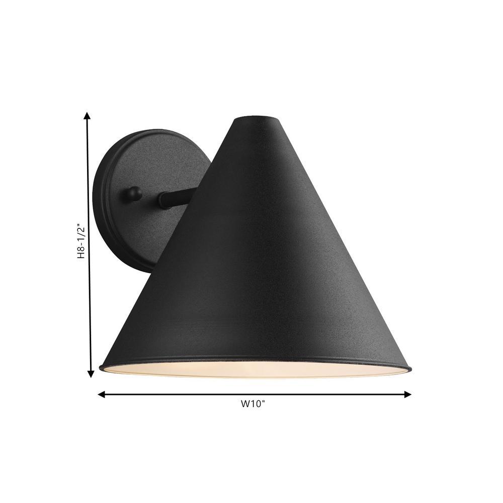 Sea Gull Lighting - Crittenden 1-Light Black Outdoor 8.5 in. Wall Lantern Sconce