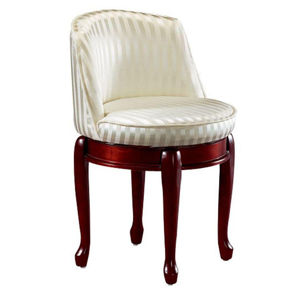 Beau Home Decorators Collection Delmar Ivory Stripe Swivel Vanity Stool