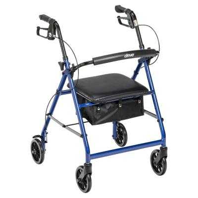 Rollator Rolling Walker with 6 in. Wheels, Fold Up Removable Back Support and Padded Seat, Blue