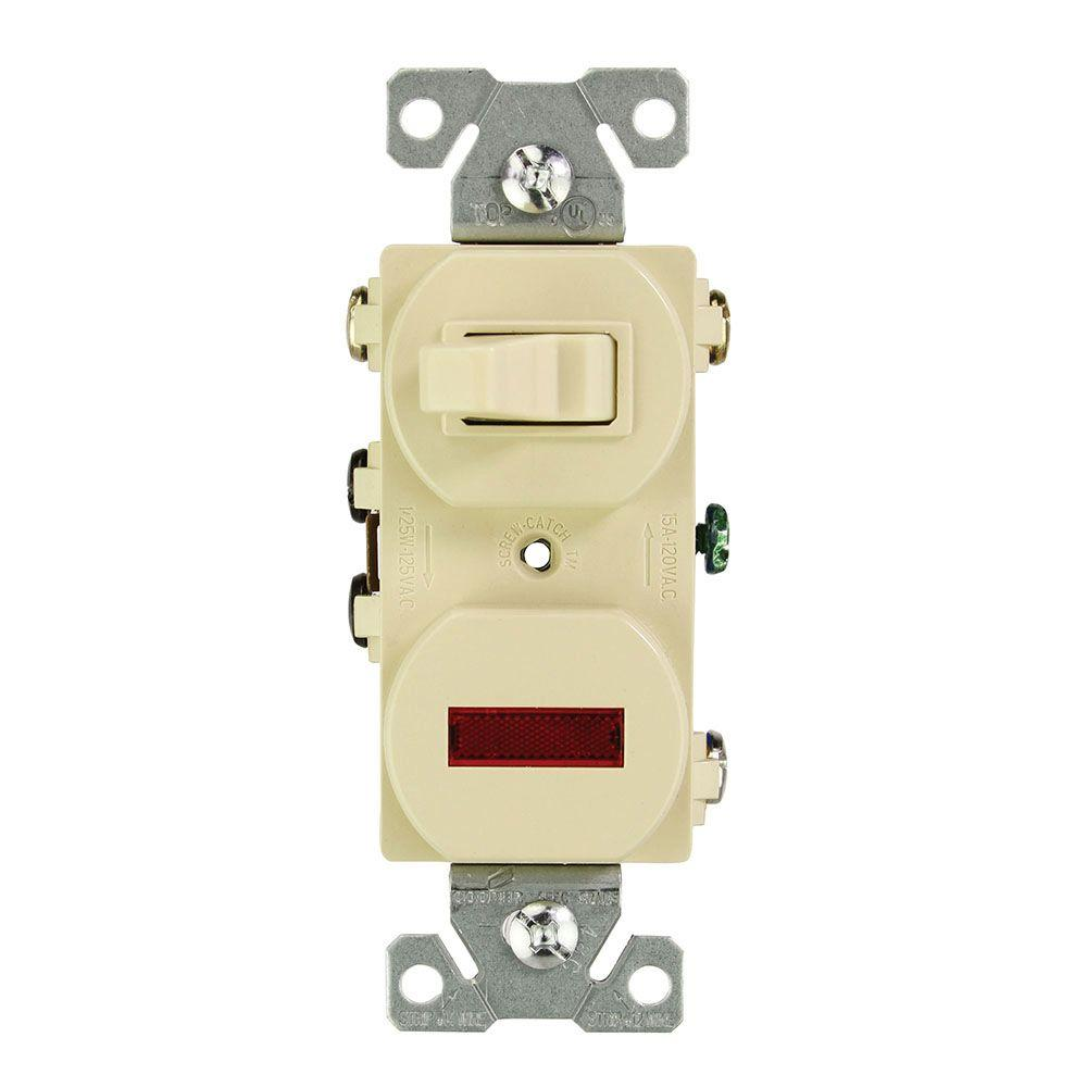15 Amp 120-Volt Combination 3-Way Switch and Pilot Light, Ivory