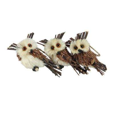 3.75 in. Brown Owl Sisal Christmas Ornaments (Pack of 3)