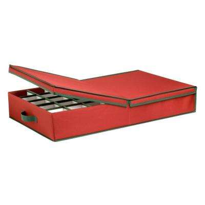 Ornament Storage Box with Dividers, Red/Green