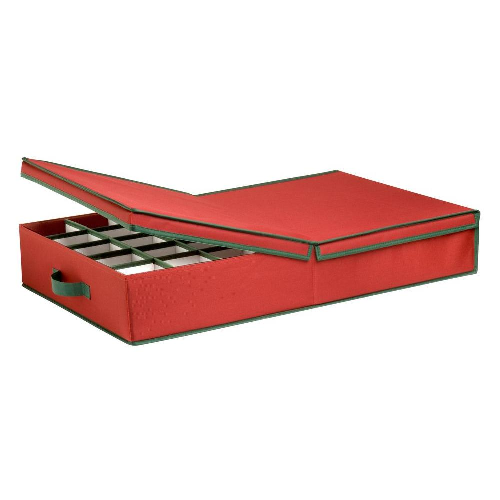ornament storage box with dividers redgreen