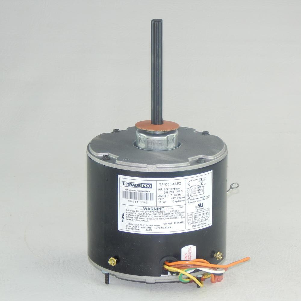 Replacement Condenser Fan Motor 1/3 HP Single Speed 1075 RPM 230-Volt