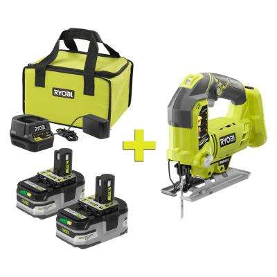 18-Volt ONE+ LITHIUM+ HP 3.0 Ah Battery (2-Pack) Starter Kit with Charger and Bag with ONE+ Orbital Jig Saw