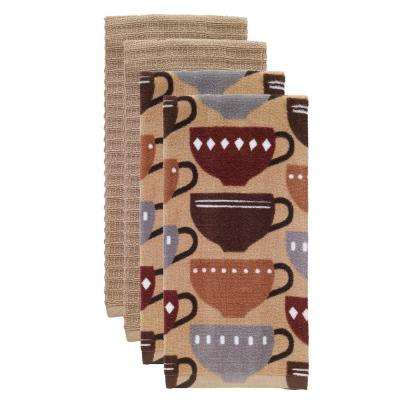 T-fal Multicolor Coffee Cotton Fiber Reactive Print and Solid Kitchen Dish Towel (Set of 4)