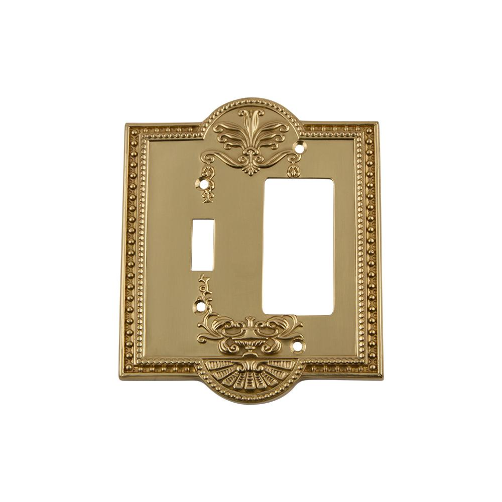 Meadows Switch Plate with Toggle and Rocker in Polished Brass