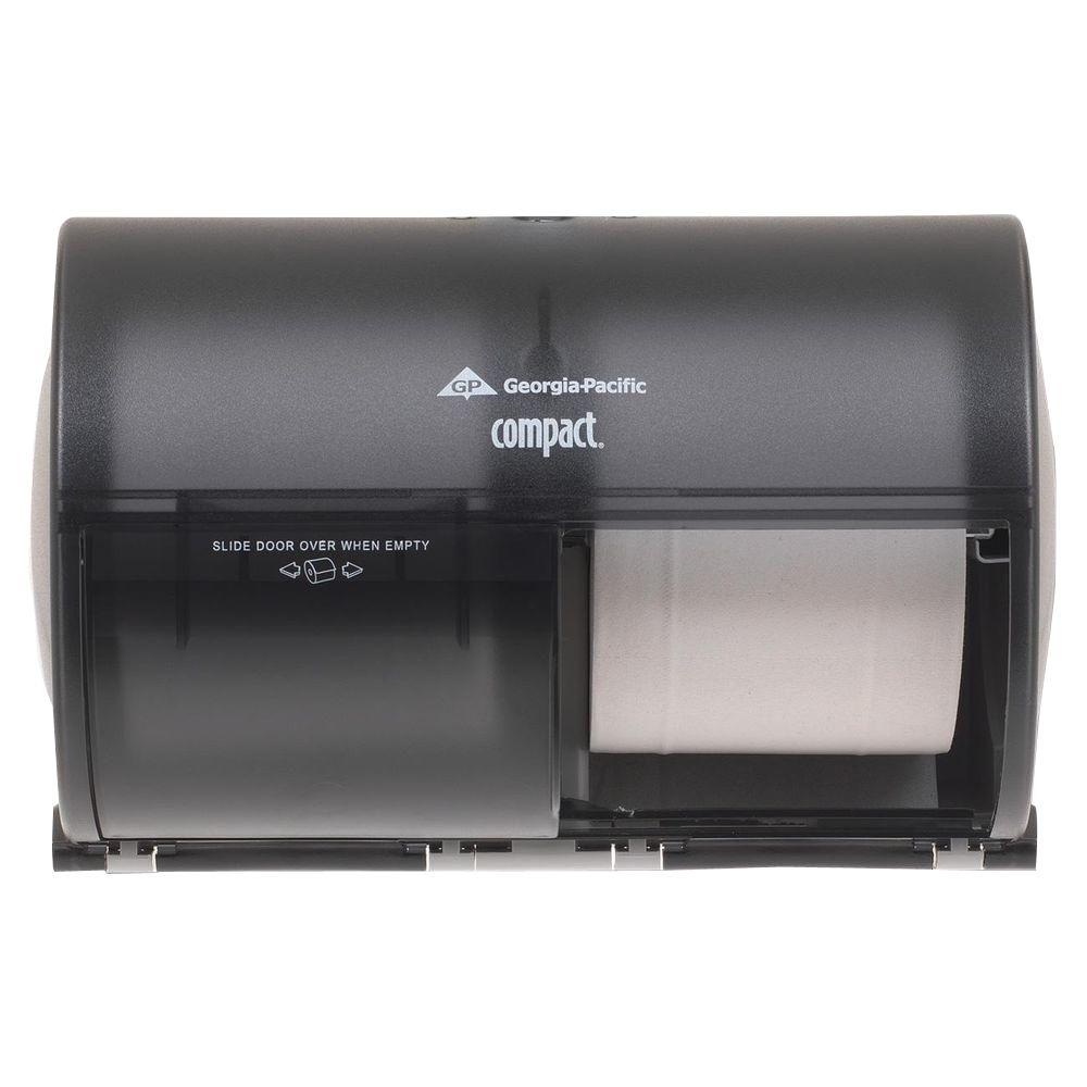 Compact Translucent Smoke Side-by-Side Double Roll Bathroom Tissue Dispenser