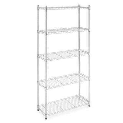 72 in. x 36 in. 5-Tier Wire Adjustable Steel Storage Shelf Rack in Chrome
