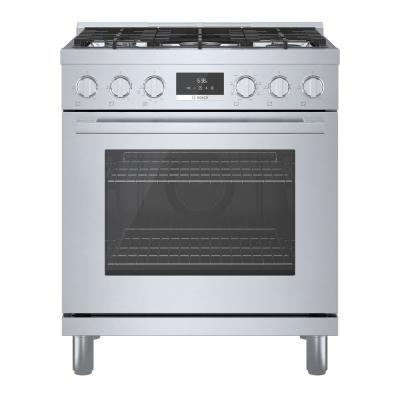 30 in. 3.9 cu. ft. Industrial Style Dual Fuel Range with 5-Burners in Stainless Steel