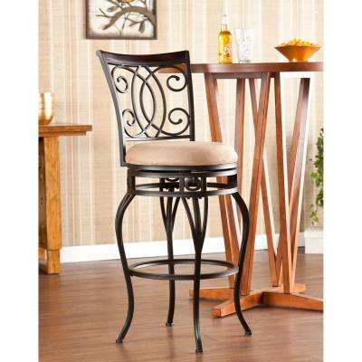 Jerry 30 in. Dark Champagne Swivel Cushioned Bar Stool