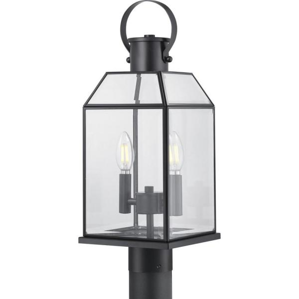 Canton Heights 2-Light Matte Black Outdoor Post Lantern with Clear Beveled Glass