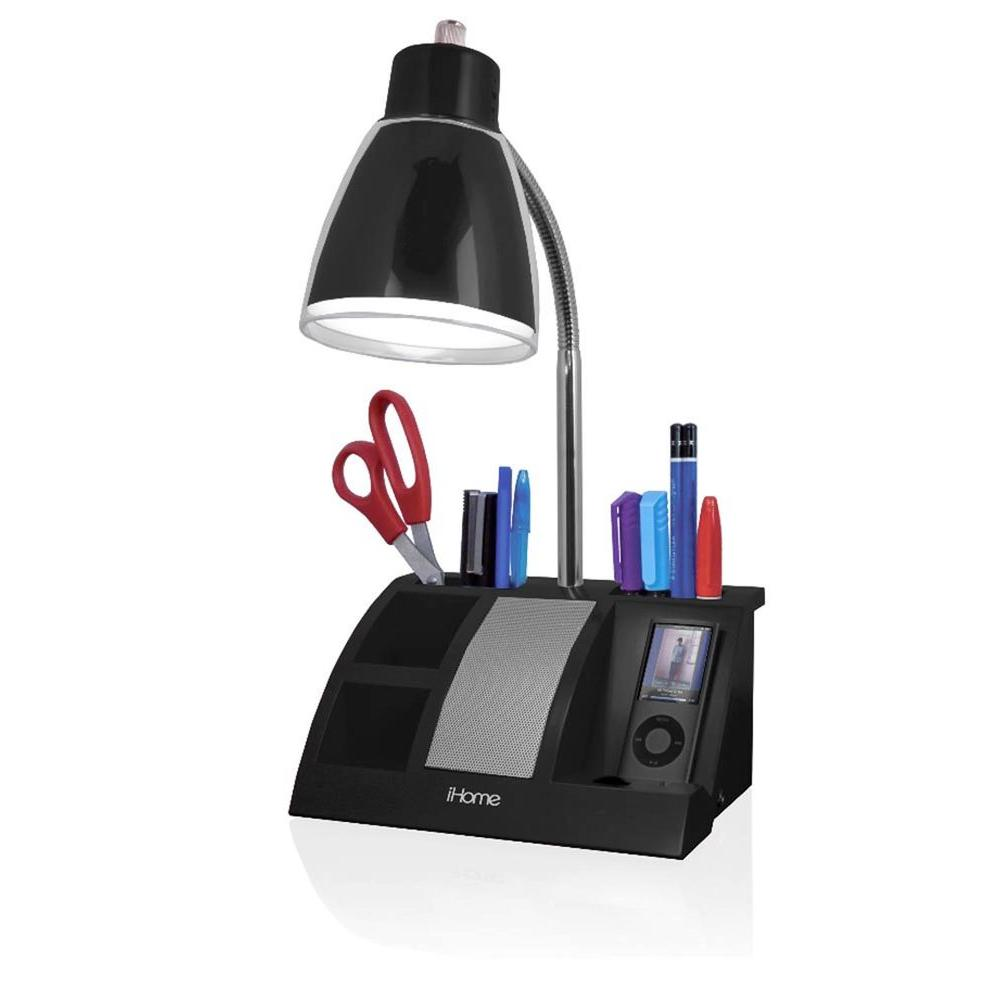 iHome 19 in. Black MP3 Organizer Lamp-DISCONTINUED