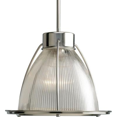 1-Light Brushed Nickel Pendant with Clear Prismatic Glass