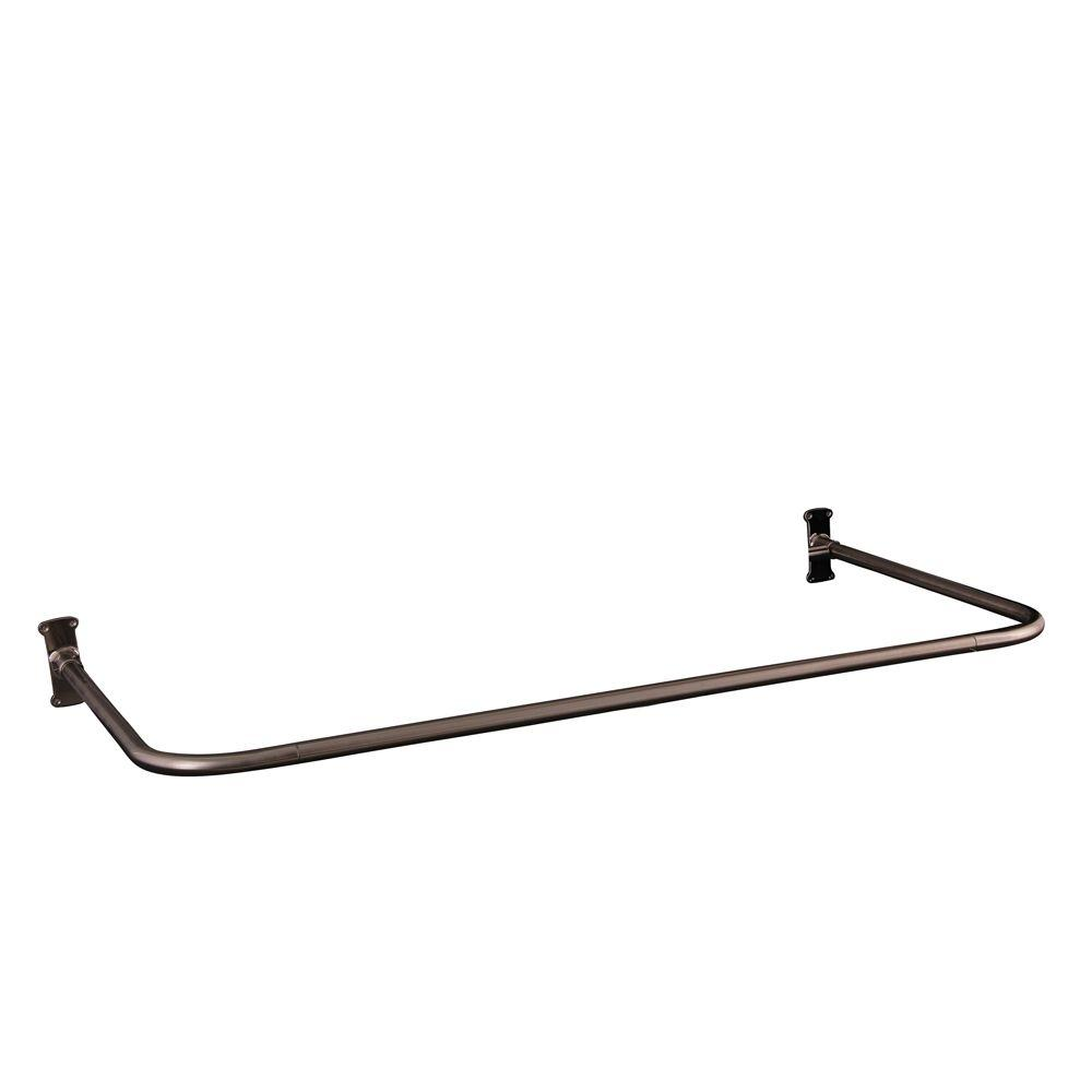 30 in. U Shower Rod in Brushed Nickel
