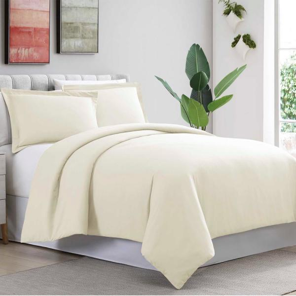 3-Piece Ivory King Duvet Cover Set