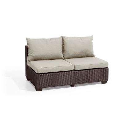Sapporo Brown Resin Outdoor Loveseat with Canvas Cushions