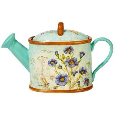 Herb Blossoms 4-Cup Multi-Colored 3-D Watering Can Teapot