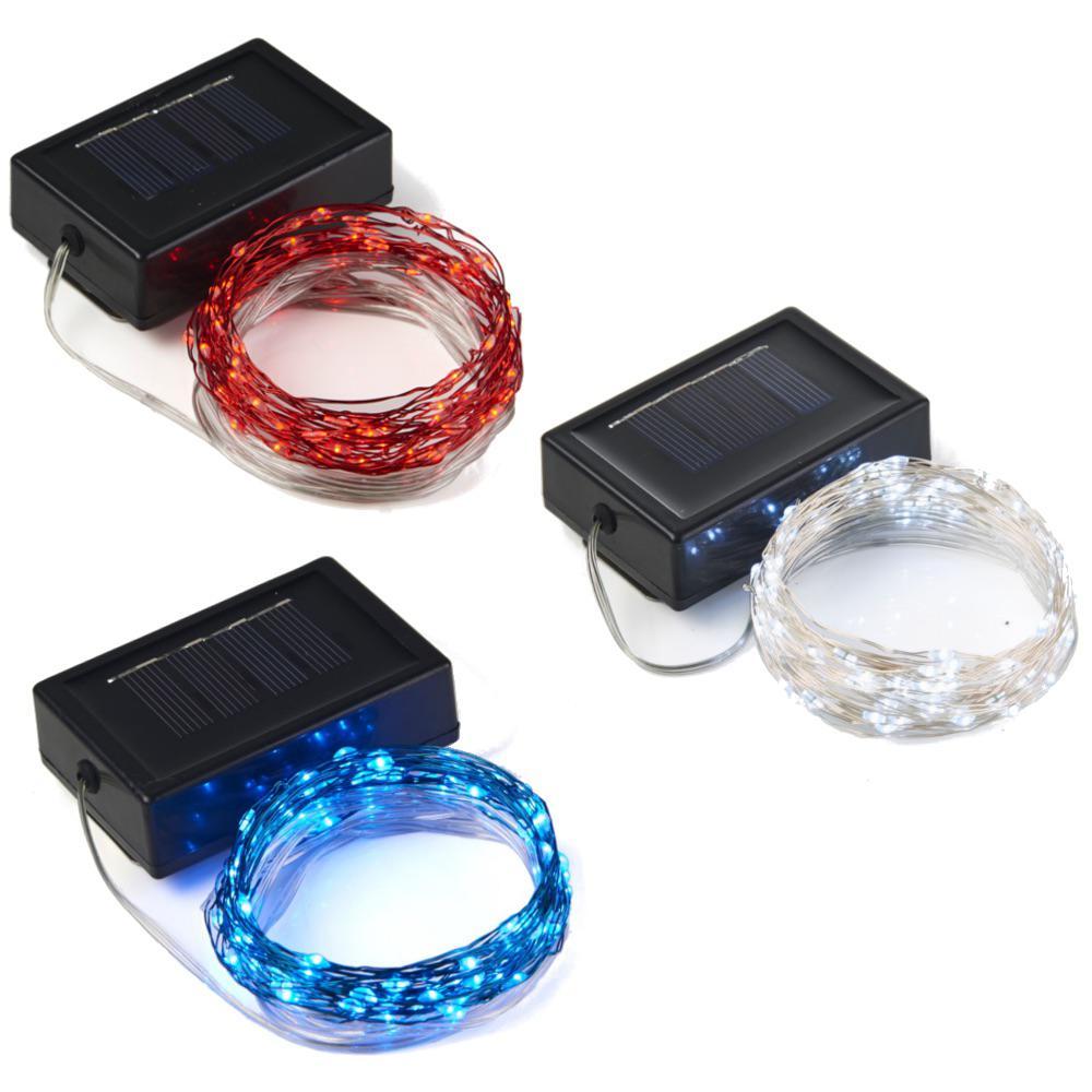 Patriotic 20 ft. Solar 100-LED Fairy String Light Set (3-Pack)