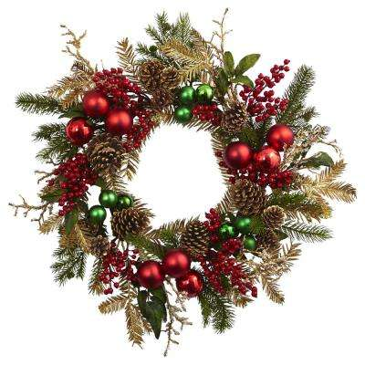 24 in. Ornament, Pine and Pine cone Wreath