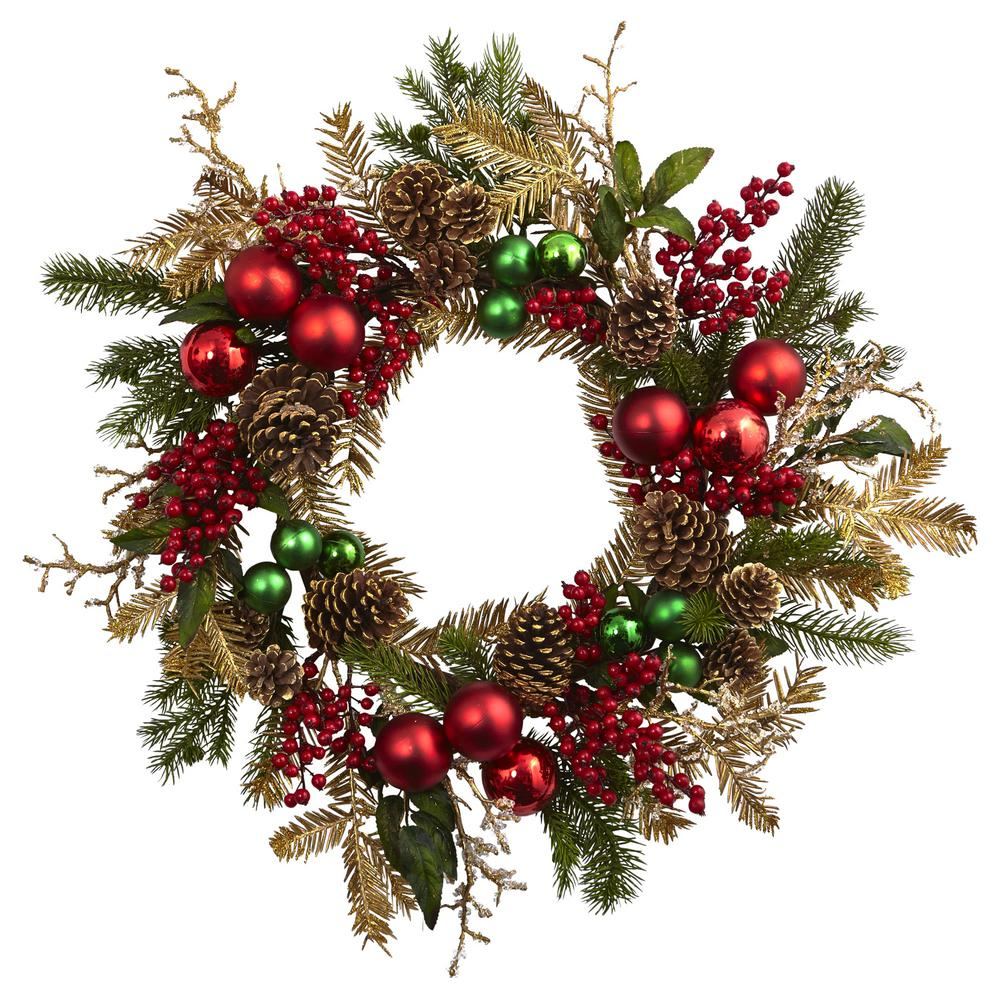 Nearly Natural 24 in. Ornament, Pine and Pine cone Wreath...