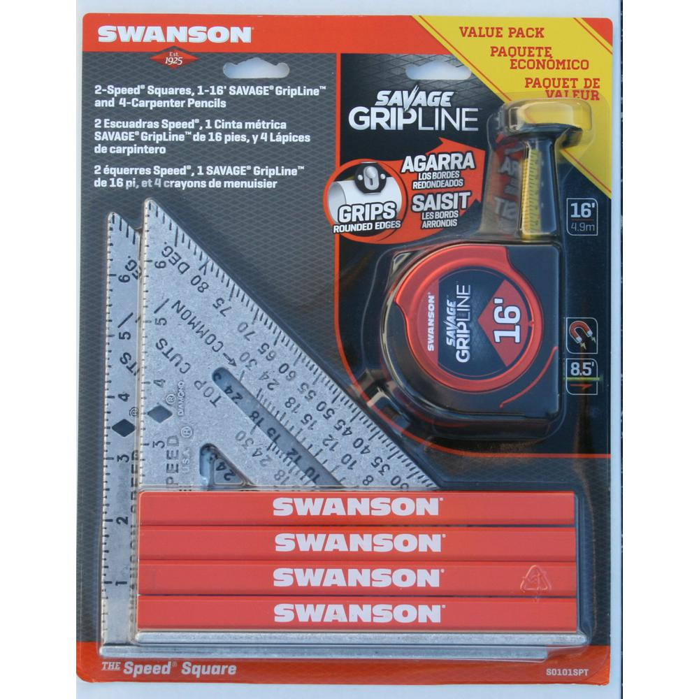 Swanson Speed Square, Pencil, Tape Measure Tool Value Pack