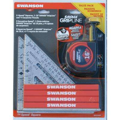 Speed Square, Pencil, Tape Measure Tool Value Pack