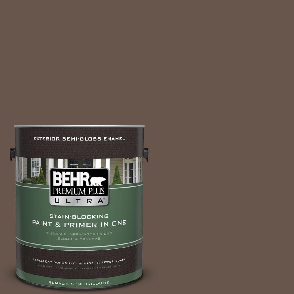 BEHR Premium Plus Ultra 1-gal. #PPU5-18 Chocolate Swirl Semi-Gloss Enamel Exterior Paint
